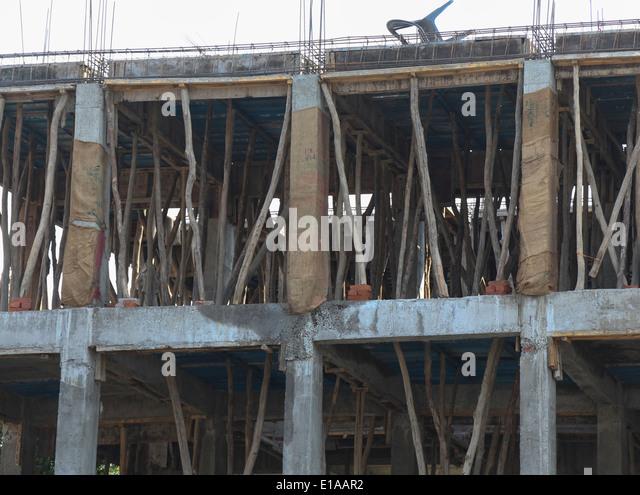 Pillar Concrete Buildings : Reinforced concrete columns stock photos