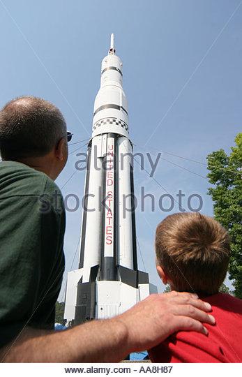 Huntsville Alabama U.S. Space and Rocket Center rocket garden father son - Stock Image
