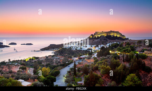 Sunrise time at Lindos and the Acropolis, Rhodes, Greece - Stock Image