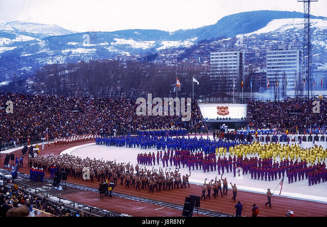 Team USA marches in at the opening ceremonies at the 1984 Olympic Winter Games, ?Sarajevo?, Yugoslavia - Stock-Bilder