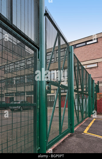 High security fencing at Langdon Park School in Tower Hamlets, London. - Stock Image