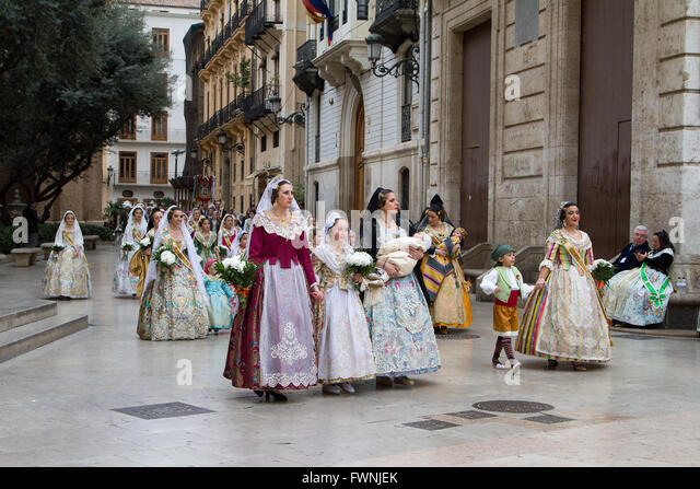 The annual procession for the offerings to the Lady of the Forsaken Valencia Spain - Stock Image