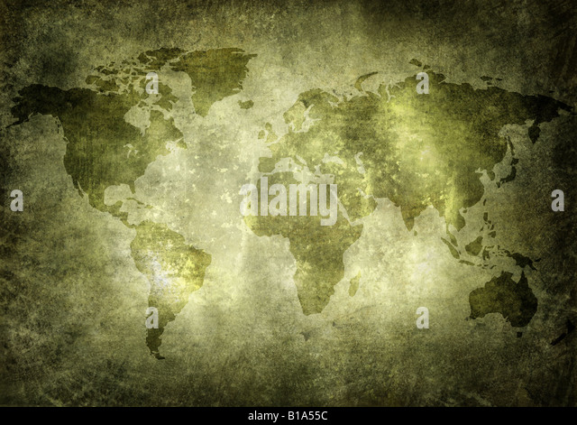 World map in grunge, vintage style - Stock Image