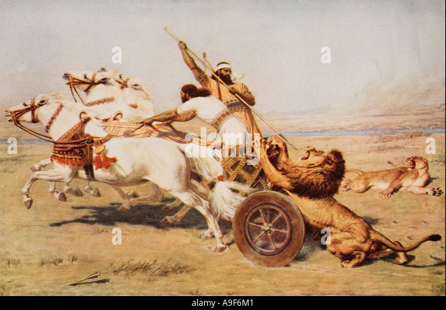 Nimrod a mighty hunter.  From the painting by Briton Riviere. - Stock Image