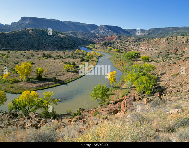 A view of the Chama River in autumn near Abiqui New Mexico where artist Georgia OKeefe lived and painted - Stock Image
