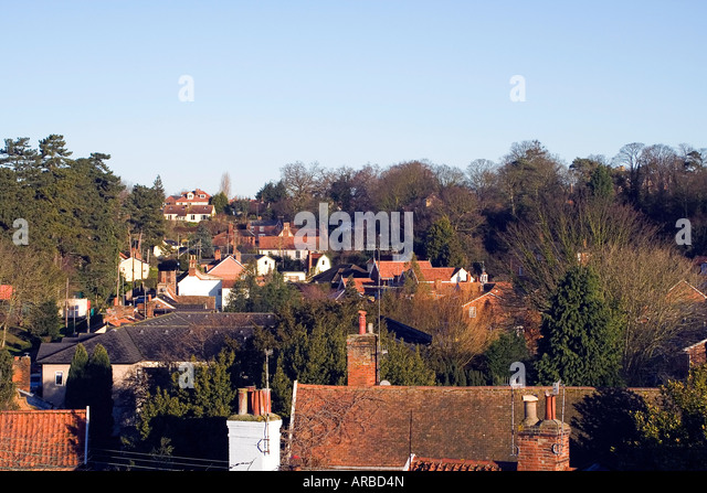 Woodbridge Houses Rooftops Suffolk England - Stock Image