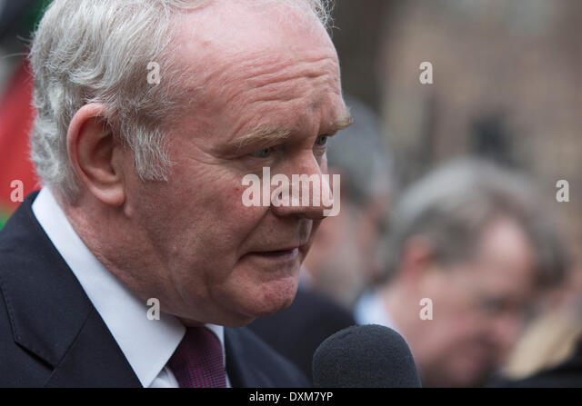 London, UK. 27 March 2014. Northern Irish Politician Martin McGuinness after the funeral service. Funeral service - Stock Image
