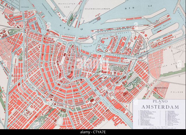 Plan of Amsterdam, Holland, at the turn of the 20th century. Map is edited in Spanish language. - Stock Image