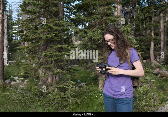 Woman preparing camera in forest - Stock Image