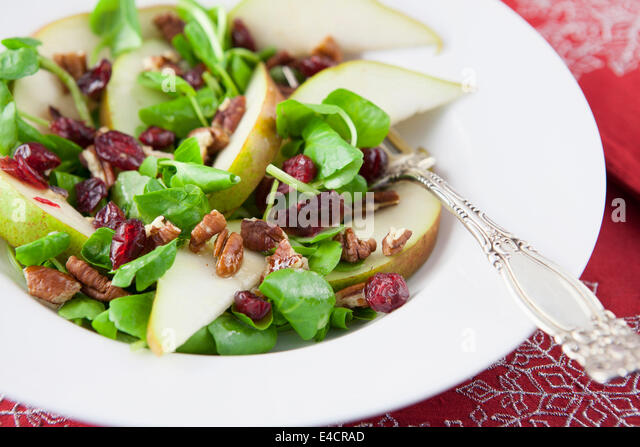 Pear, Cranberry and Watercress Salad - Stock Image