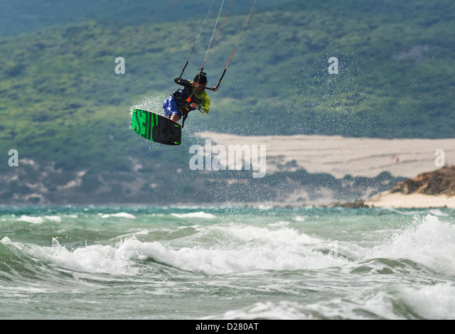 Kitesurfer jumping. - Stock Image