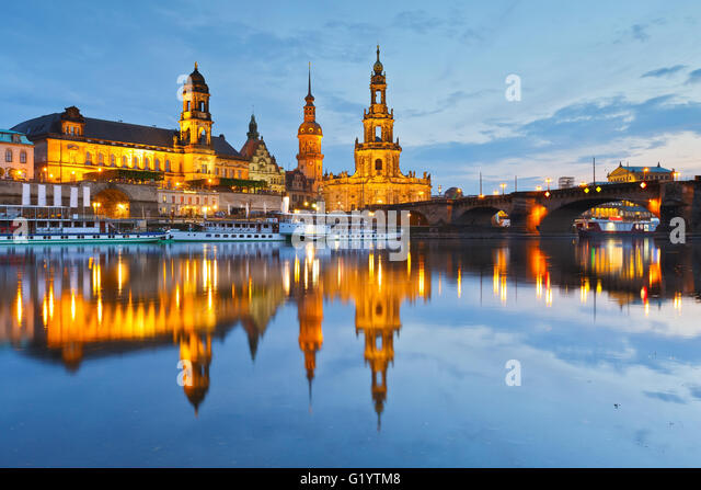 View of the old town of Dresden over river Elbe, Germany. - Stock Image