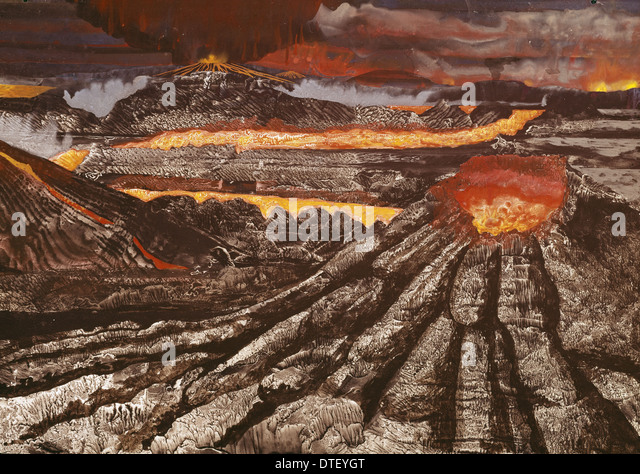 Volcanoes on the early Earth - Stock Image