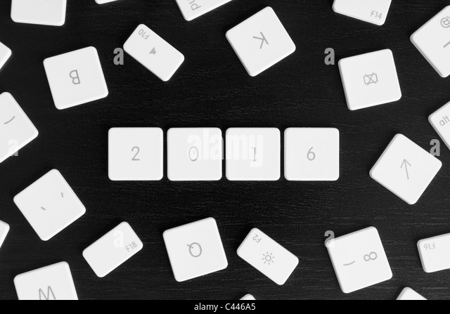 Computer keys arranged to read the calendar year 2016 - Stock-Bilder