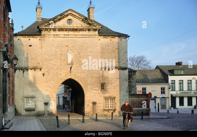 The old prison gate in the city Lier, Belgium - Stock Image