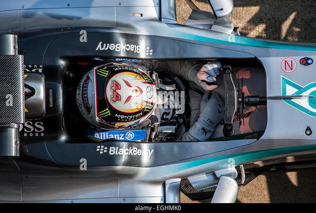 Lewis Hamilton (GBR), Mercedes-Benz AMG Petronas F1 Team  W06, Formula 1 testing sessions, Circuit de Catalunya. - Stock-Bilder
