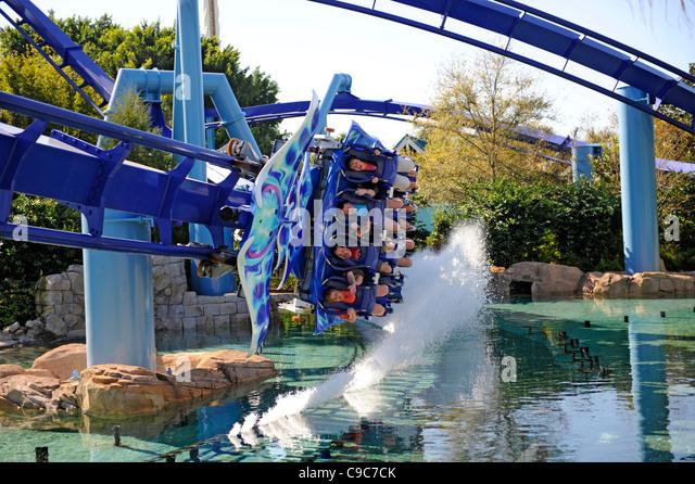 Sea World Adventure Theme Park Orlando Florida and the Manta roller coaster ride - Stock Image