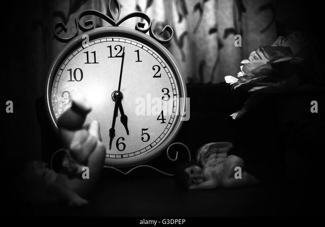 belongings, objects, still life, still-life, cherub, black and white photography, aged, old, processions, 80s, 1980, - Stock Image