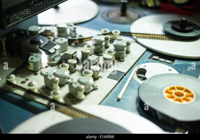 closeup of controls on Steenbeck editing machine - Stock Image
