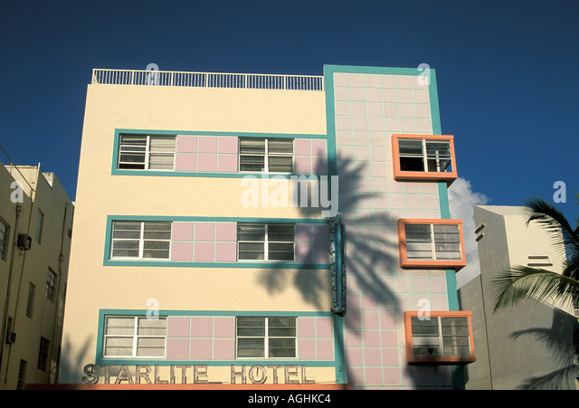 Miami Florida FL South Beach Classic Art Deco Architecture Ocean Drive coconut palm tree shadow on Starlite Hotel - Stock Image