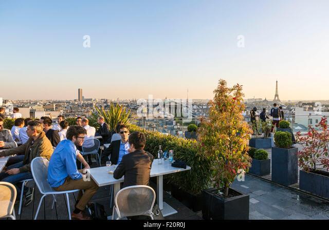 roof terrace paris stock photos roof terrace paris stock images alamy. Black Bedroom Furniture Sets. Home Design Ideas