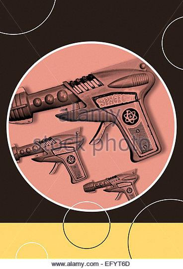 Vintage space gun repeat retro illustration - Stock Image