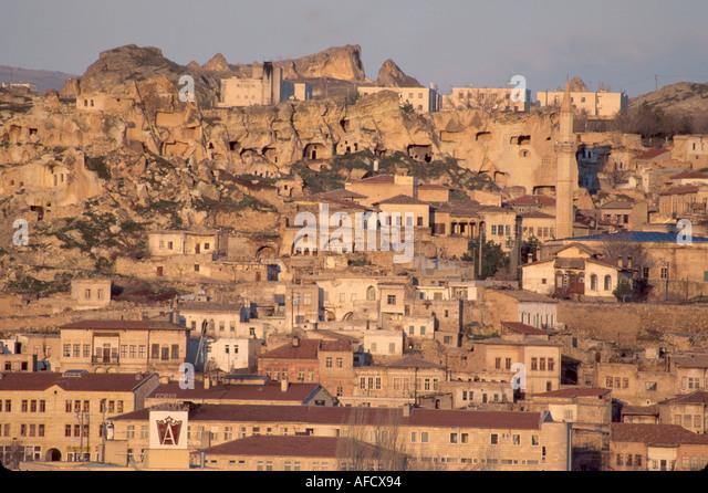 Turkey Cappadocia Urgup city built on volcanic tufa mound - Stock Image