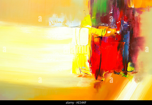 Abstract painting, oil on canvas - Stock Image