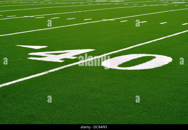 40 yard line on an American Football field - Stock Image