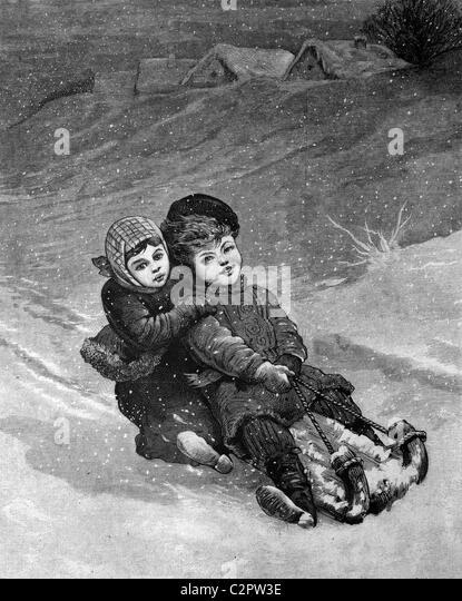 Children tobogganing, historical illustration, about 1886 - Stock Image