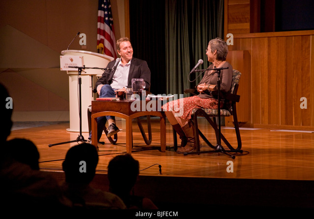 'No Impact Man' Colin Beavan speaks at the Los Angeles Central Public Library. California, USA - Stock Image