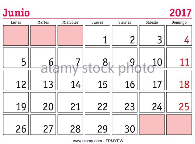 June Calendar In Spanish : Vector calendar in spanish stock photos