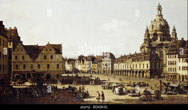 "fine arts, Bellotto, Bernardo, called Canaletto (20.5.1722 - 17.11.1780), painting ""Der Neumarkt in Dresden - Stock Image"