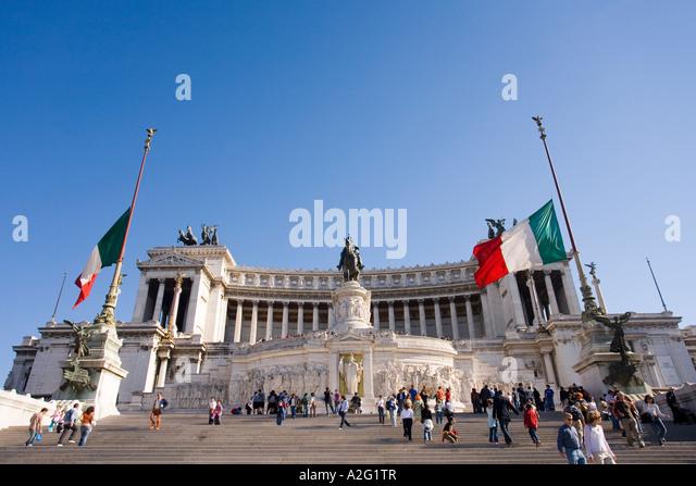 Monument of Vittorio Emanuele II  Victor Emmanuel II or Altare della Patria Altar of the Nation or Il Vittoriano - Stock Image