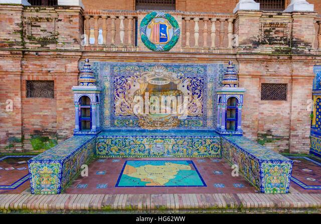 Glazed tiles bench of spanish province of Teruel at Plaza de Espana, Seville, Spain - Stock Image