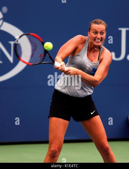 New York, United States. 25th Aug, 2017. US Open Tennis: New York, 25 August, 2017 - Petra Kvitova of the Czech - Stock Image