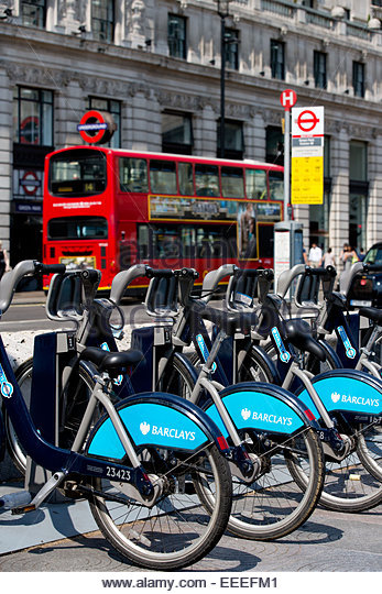 Cycle hire point outside Green Park tube station - Stock Image