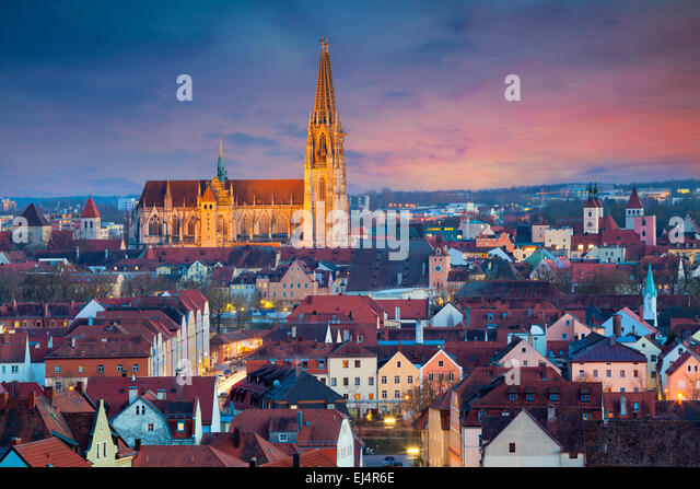 Regensburg. Image of unesco heritage and historic bavarian city Regensburg. - Stock Image