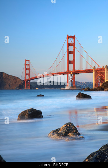 Golden Gate Bridge viewed from Bakers Beach - Stock-Bilder