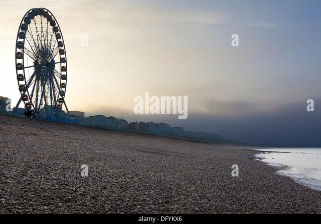 Ferris wheel at the beach front, Brighton, Sussex, United Kingdom, - Stock Image