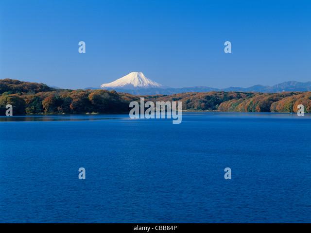 Mount Fuji and Lake Sayama, Tokorozawa, Saitama, Japan - Stock Image