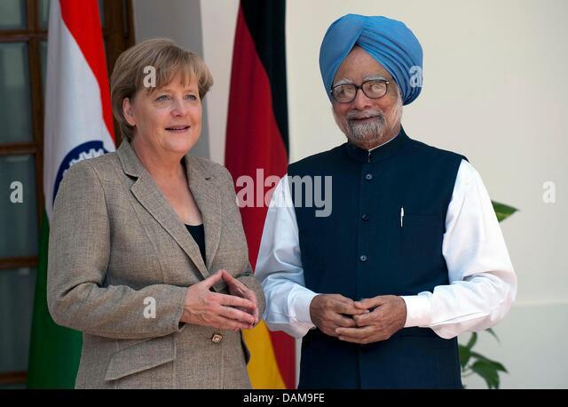 Bundeskanzlerin Angela Merkel (CDU) wird am Dienstag (31.05.2011) in Neu Delhi vom indischen Premierminister Manmohan - Stock-Bilder