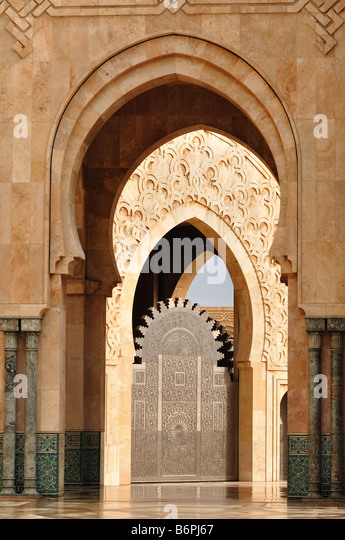 Detail of Hassan II Mosque in Casablanca, Morocco - Stock Image