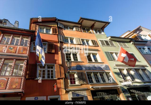 Augustiner Gasse, Augustiner Lane, Facades of old houses,  Old City Center, Zurich, Switzerland, Europe - Stock Image
