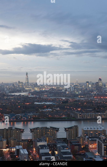 Grey clouds over London skyline; London; England - Stock Image