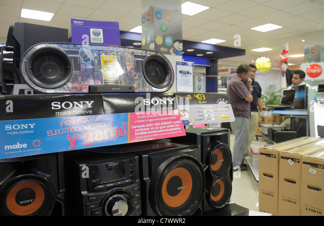 Nicaragua Managua Metrocentro shopping center centre mall business la Curacao retail chain store display home electronics - Stock Image