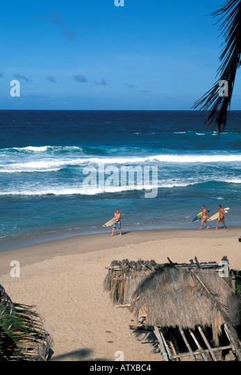 Caribbean Barbados beach Surfing on the Atlantic Coast - Stock Image