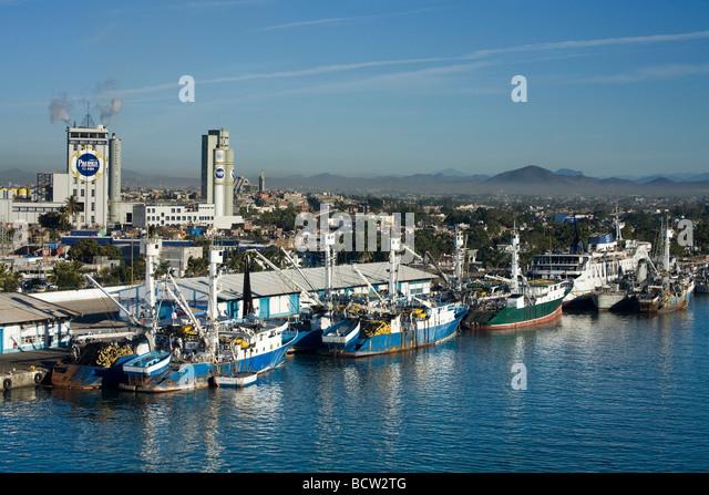 Fishing boats at a dock, Mazatlan, Sinaloa, Mexico - Stock Image