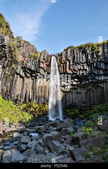 Svartifoss Waterfalls, Vatnajokull National Park, Iceland - Stock Image