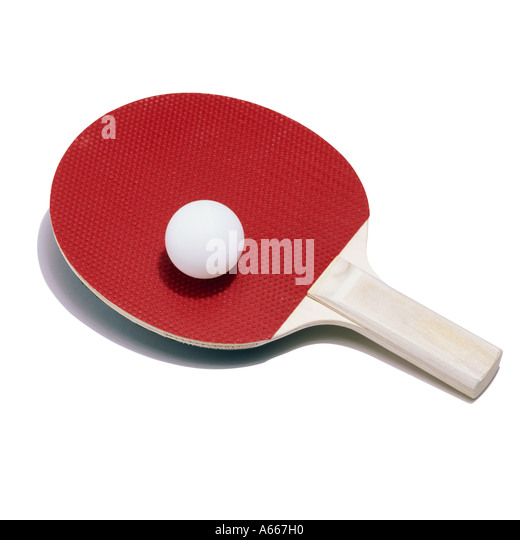 A table tennis bat and ball - Stock Image